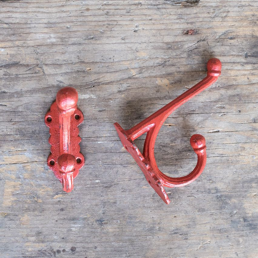 New Cast Iron Victorian Style Hook - Red
