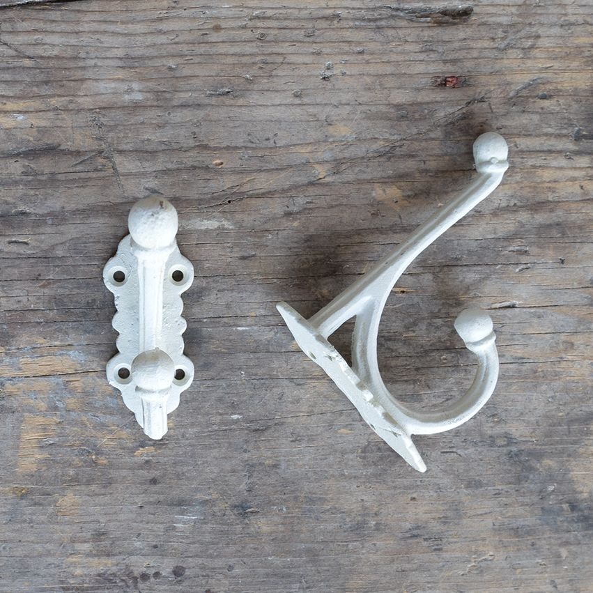 Cast Iron Victorian Style Hook - White