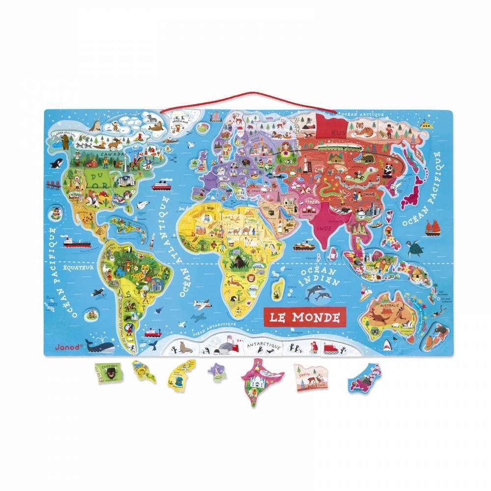 Janod Janod 5500 Magnetic World Map Puzzle 92pcs