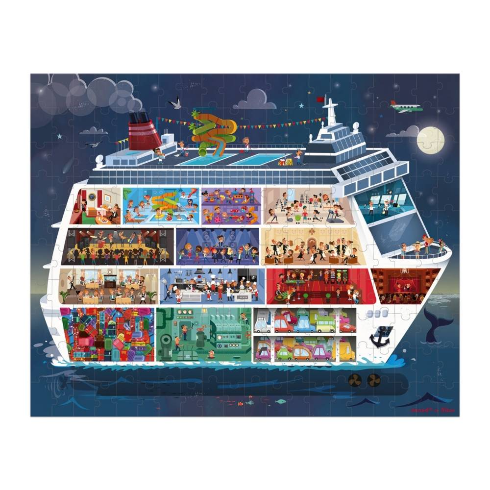 Janod JANOD HAT BOXED 2 PUZZLES CRUISE SHIP 100 AND 200 PIECES