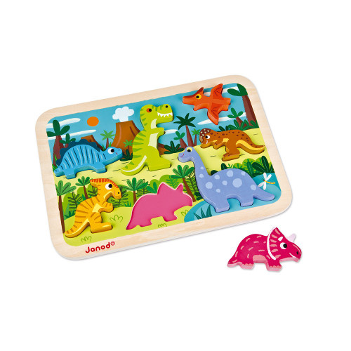 Janod CHUNKY PUZZLE DINOSAURS 7 PIECES (WOOD) J07054