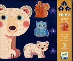 Djeco Djeco 07143 Primo Puzzle / In the forest / 9,12,16 pcs
