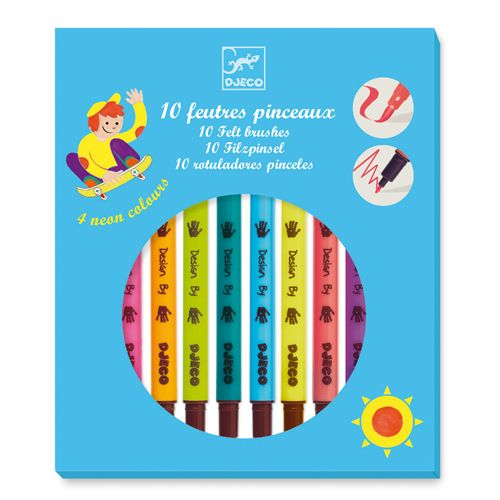 Djeco Djeco 08799 10 felt brushes / Pop colours