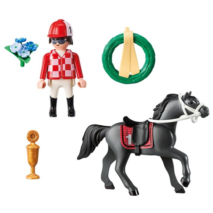Playmobil Playmobil 9261 Jockey avec Cheval de Course