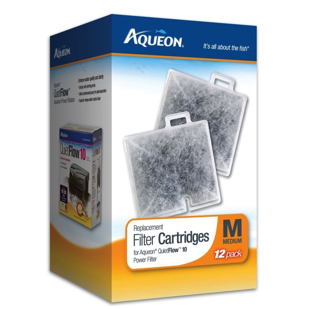 AQUEON Aqueon Replacement Filter Cartridges for QuietFlow 10 Power Filter Medium 12pk
