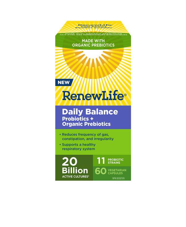Renew Life - Daily Balance Probiotics + Organic Prebiotics 20 Billion - 60 V-Caps