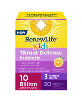 Renew Life Renew Life - Kids Throat Defense Probiotic 10 Billion - Orange Burst - 30 Chew Tabs