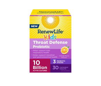 Renew Life - Kids Throat Defense Probiotic 10 Billion - Orange Burst - 30 Chew Tabs