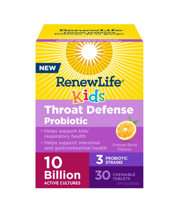Renew Life Renew Life - Kids Throat Defense Probiotic 10 Billion - Orange Burst - 30 Chew Tabs