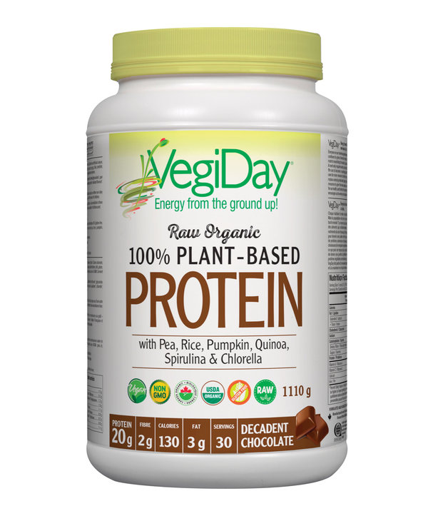 VegiDay - Raw Organic Plant Based Protein - Decadent Chocolate - 972g