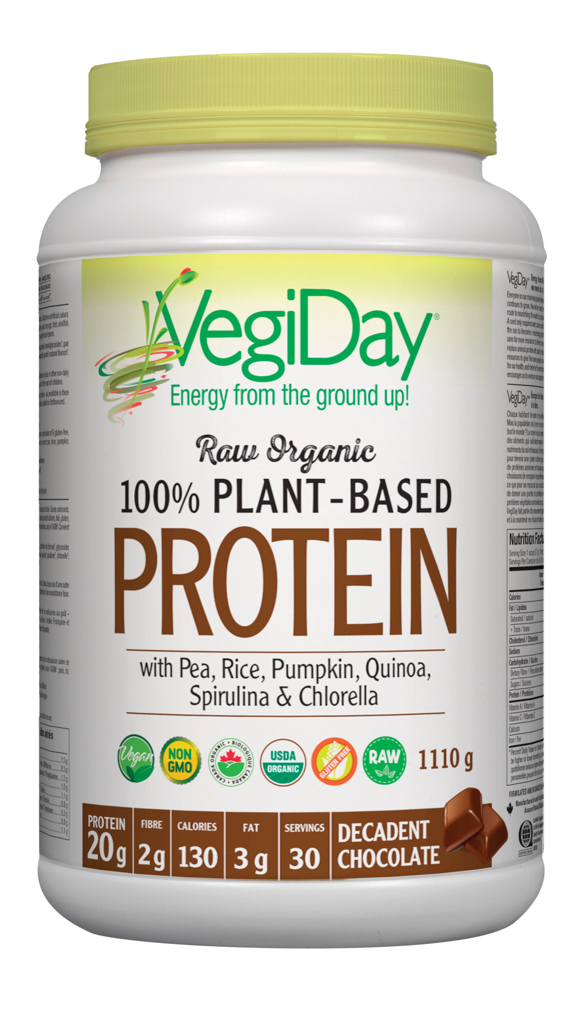 VegiDay VegiDay - Raw Organic Plant Based Protein - Decadent Chocolate - 972g