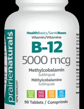 Prairie Naturals Prairie Naturals - Vitamin B12 5000 mcg - 90 Sublingual Tabs