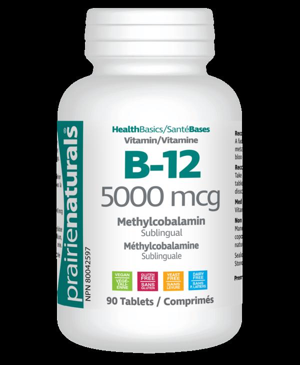 Prairie Naturals - Vitamin B12 5000 mcg - 90 Sublingual Tabs