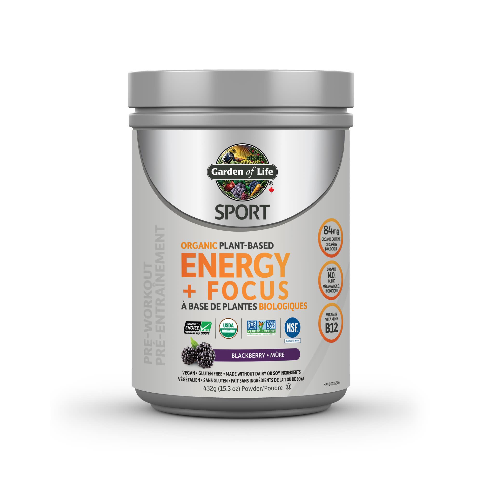 Garden of Life Garden of Life - Organic Plant Based Energy + Focus - Blackberry - 432g