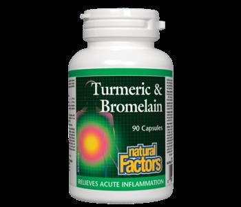 Natural Factors - Turmeric & Bromelain - 90 Caps