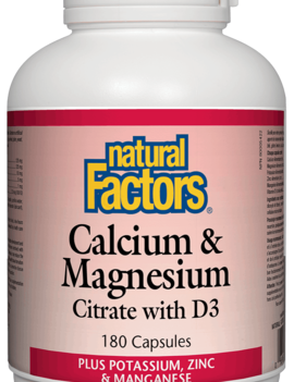 Natural Factors Natural Factors - Calcium & Magnesium Citrate w/ D3 - 180 Caps