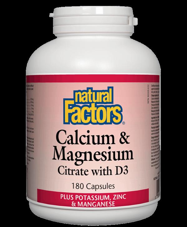 Natural Factors - Calcium & Magnesium Citrate w/ D3 - 180 Caps