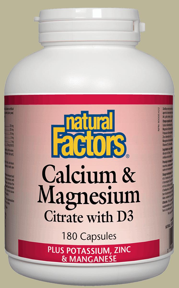 Natural Factors Natural Factors - Calcium & Magnesium Citrate w/ D3 - 180 Caps