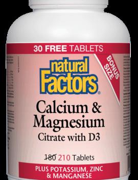 Natural Factors Natural Factors - Calcium & Magnesium Citrate w/ D3 - 210 Tabs Bonus Size