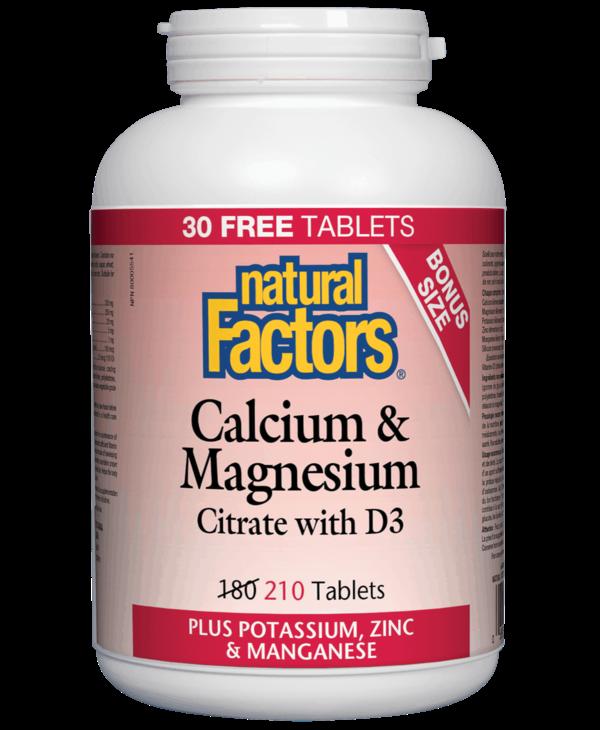 Natural Factors - Calcium & Magnesium Citrate w/ D3 - 210 Tabs Bonus Size