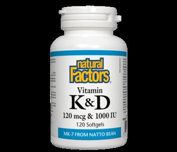 Natural Factors - Vitamin K & D - 120 SG