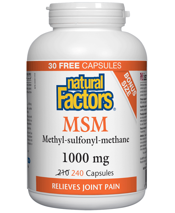Natural Factors - MSM 1000 mg - 240 Caps Bonus Size