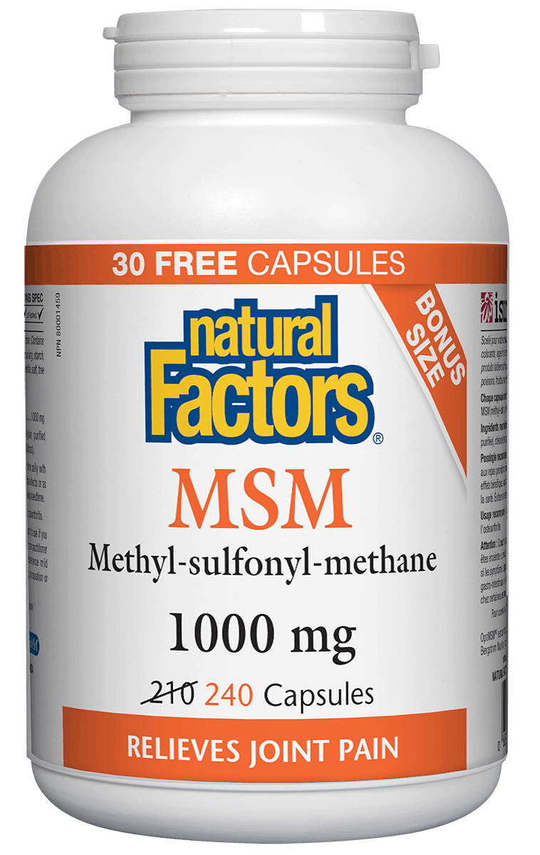 Natural Factors Natural Factors - MSM 1000 mg - 240 Caps Bonus Size