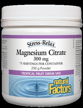 Natural Factors Natural Factors - Stress-Relax - Magnesium Citrate - Tropical Fruit Mix - 250g