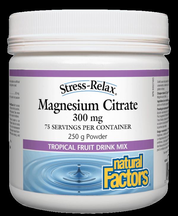 Natural Factors - Stress-Relax - Magnesium Citrate - Tropical Fruit Mix - 250g