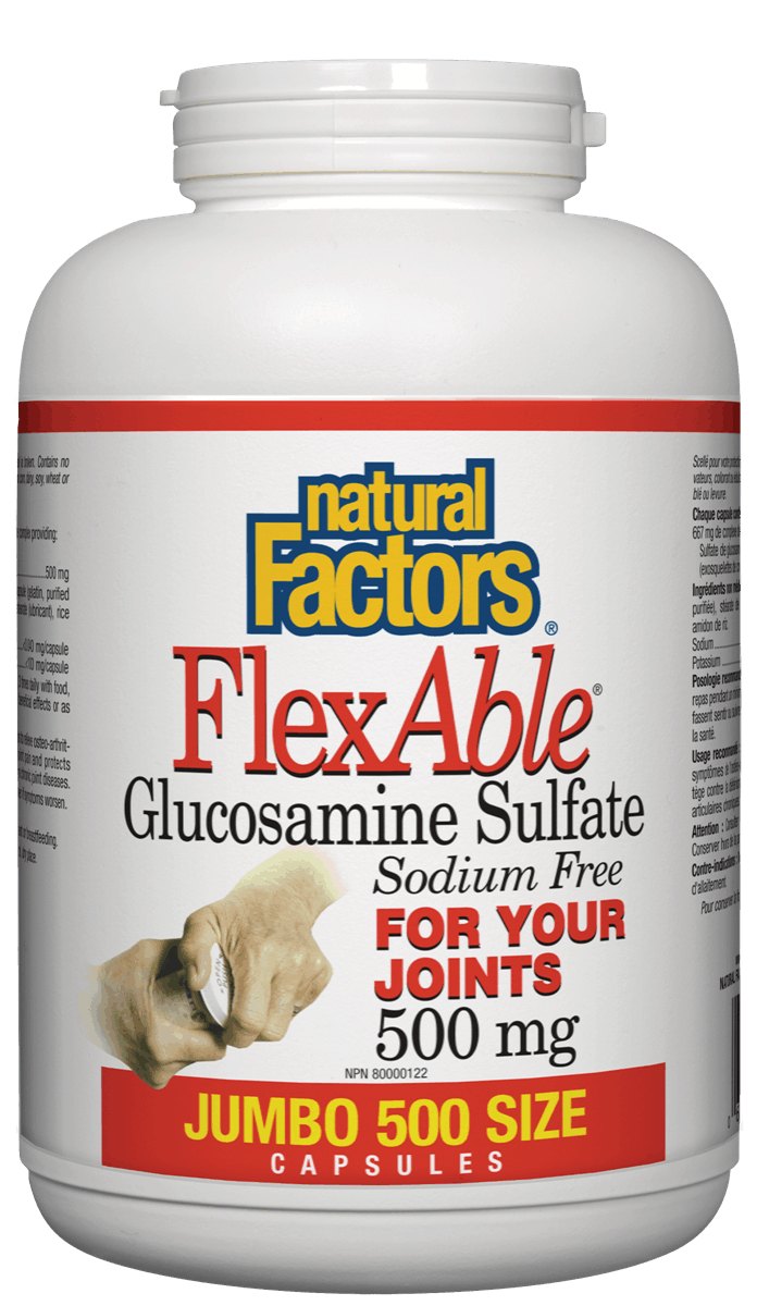 Natural Factors Natural Factors - FlexAble Glucosamine Sulfate - 500 Caps