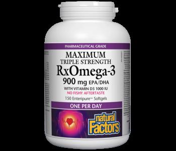 Natural Factors - RxOmega-3 - Max Triple Strength 900 mg w/ D3- 150SG