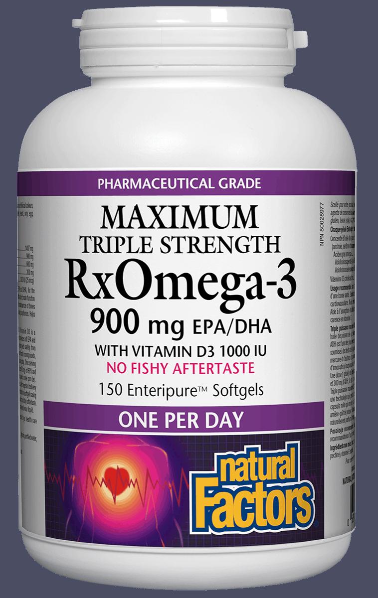 Natural Factors Natural Factors - RxOmega-3 - Max Triple Strength 900 mg w/ D3- 150SG