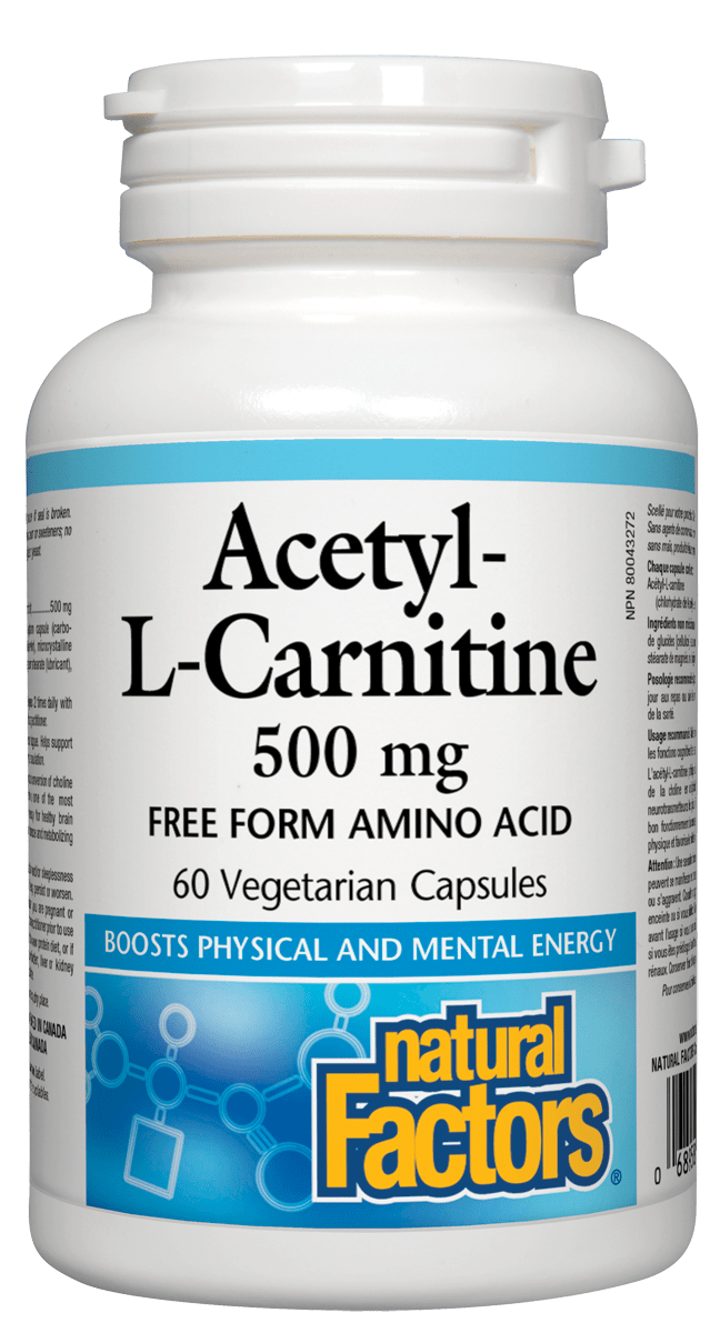 Natural Factors Natural Factors - Acetyl-L-Carnitine 500 mg - 60 SG