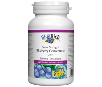 Natural Factors - BlueRich - Super Strength Blueberry Concentrate 500mg - 90SG