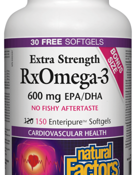 Natural Factors Natural Factors - RxOmega-3 - Extra Strength 600 mg - 150 SG Bonus size