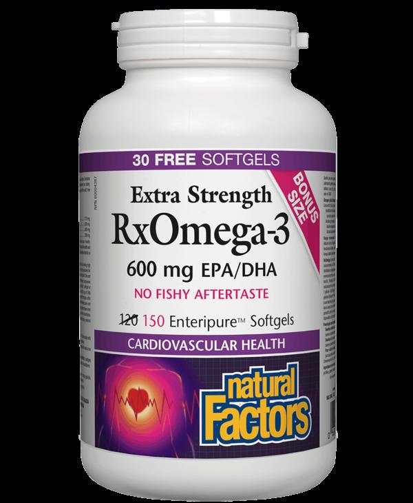 Natural Factors - RxOmega-3 - Extra Strength 600 mg - 150 SG Bonus size