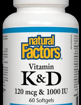 Natural Factors Natural Factors - Vitamin K & D 120 mcg &1000 UI - 60 SG