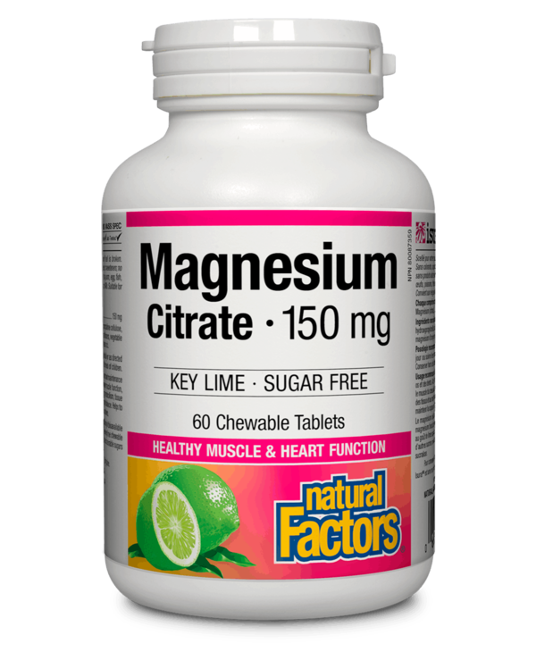 Natural Factors - Magnesium Citrate 150mg - Key Lime - Chew Tabs