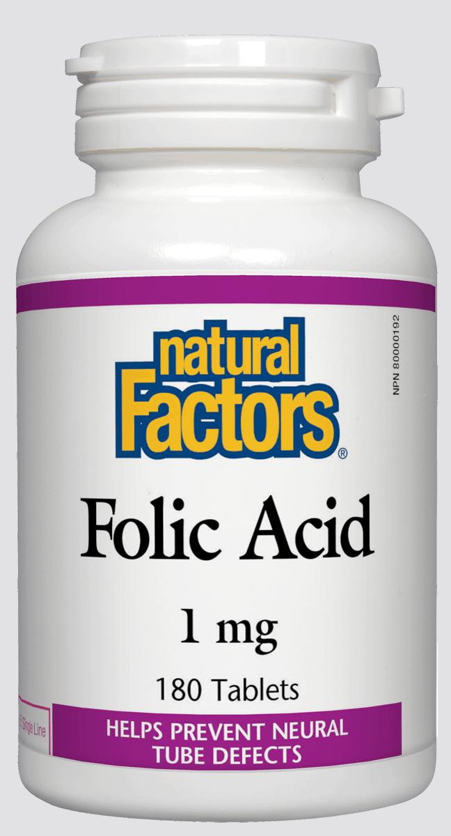 Natural Factors Natural Factors - Folic Acid 1 mg - 180 Tabs