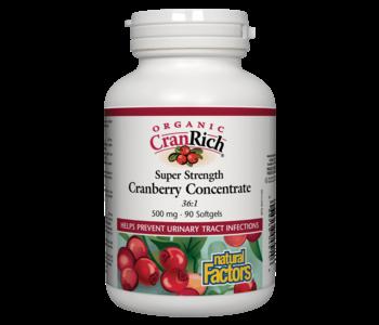 Natural Factors - Organic CranRich - Cranberry Concentrate Super Strenght - 90 SG
