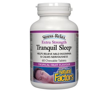 Natural Factors - Tranquil Sleep - Extra Strength - Tropical Fruit - 60 Chews