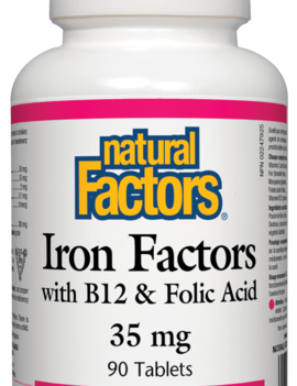 Natural Factors Natural Factors - Iron w/ B12 & Folic Acid  35mg - 90 Tabs