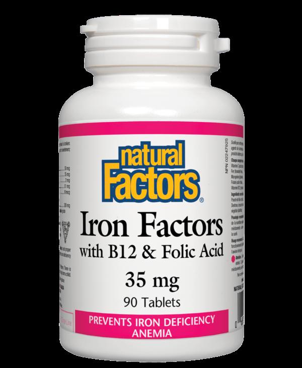 Natural Factors - Iron w/ B12 & Folic Acid  35mg - 90 Tabs