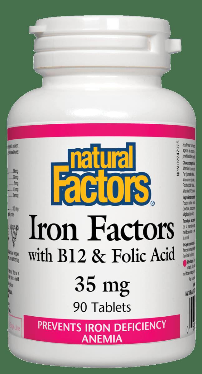 Natural Factors Natural Factors - Iron w/ B12 & Folic Acid  35mg - 90 Tabs