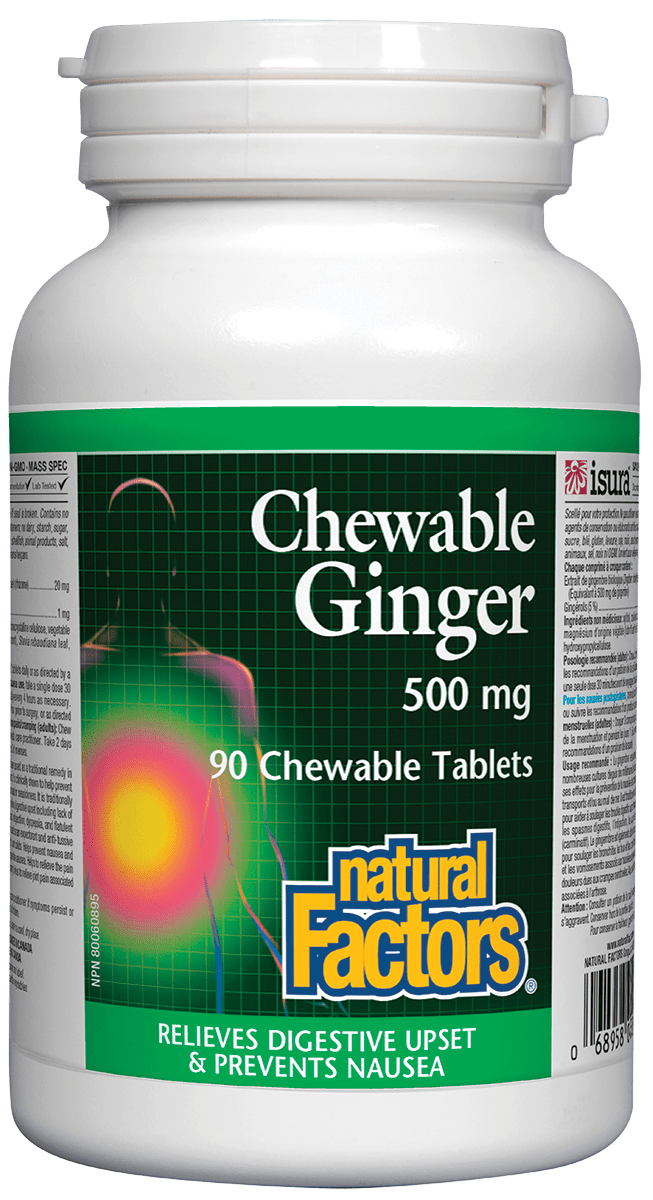 Natural Factors Natural Factors - Ginger 500mg - 90 Chewable Tabs