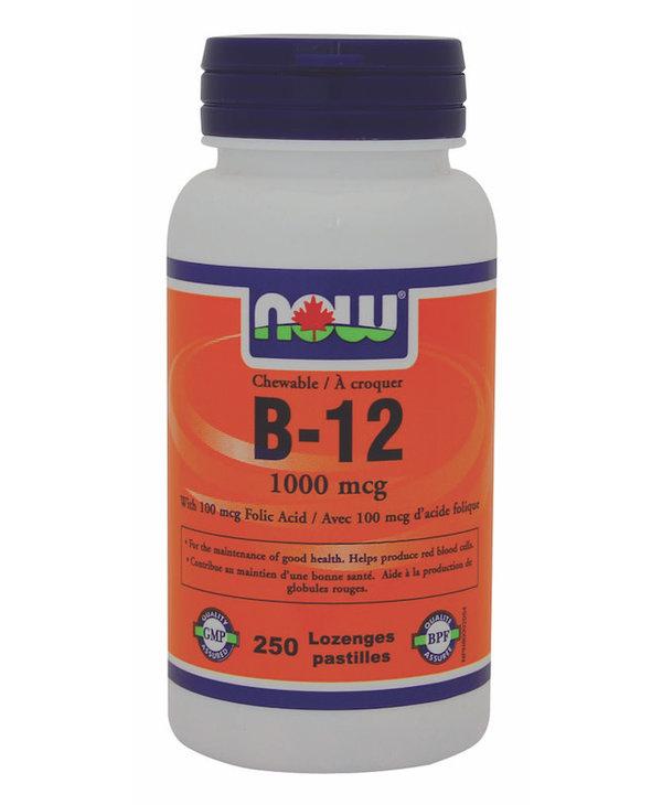 Now - B-12 1000mcg + Folic Acid 100mcg - 250 Chews