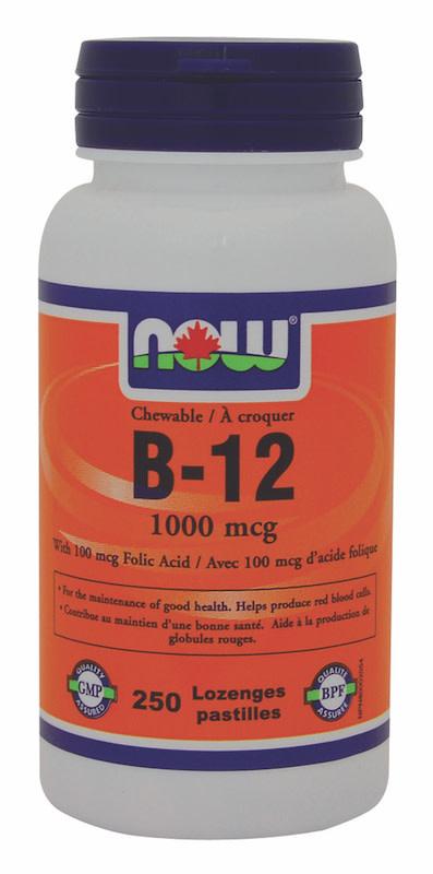 Now Now - B-12 1000mcg + Folic Acid 100mcg - 250 Chews