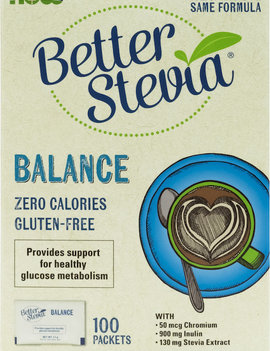 Now Now - BetterStevia - Balance w/ Inulin & Chromium - 100 Packets