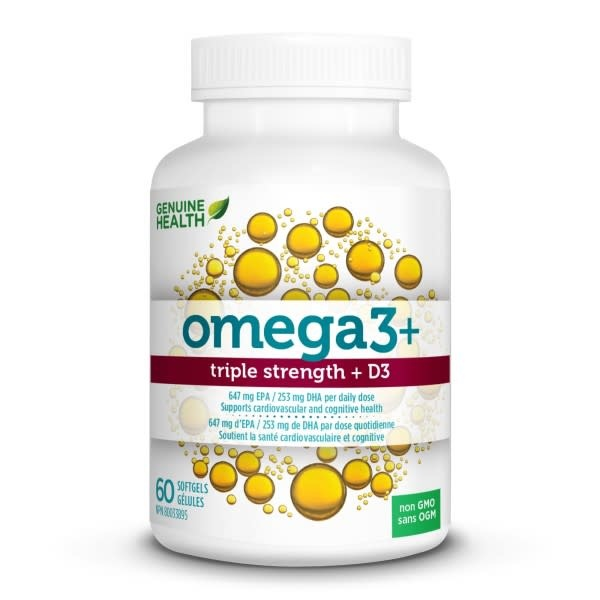 Genuine Health Genuine Health - Omega 3 Triple Strength + D3 - 60 SG