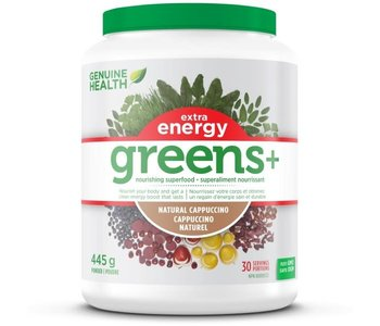 Genuine Health - Greens+ Extra Energy - Natural Cappuccino - 445g
